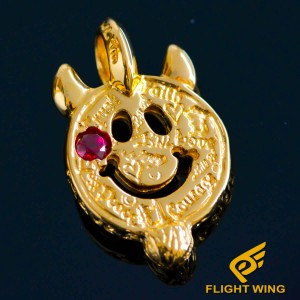 【NEW】Yellow Gold Plated Graffiti Happy Face , Pink Ruby CZ , Horn / BWL Bill Wall Leather