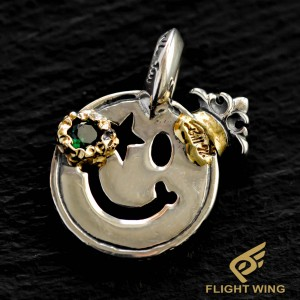【NEW】Happy Face , Gold Overlay , Emerald CZ , Crown , Star Eye / BWL Bill Wall Leather