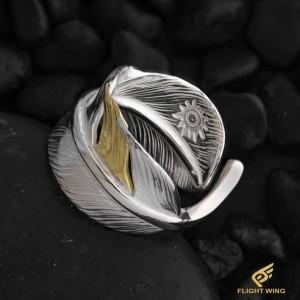 【NEW】K18 Point SV Feather Ring / La Key