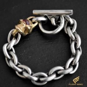 【NEW】K18 Single Skull Link Bracelet and Garnet Eye / Stop Light