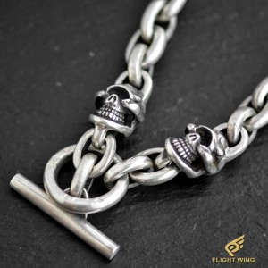 【NEW】2 Skull T-Bar Chain Necklace / Stop Light