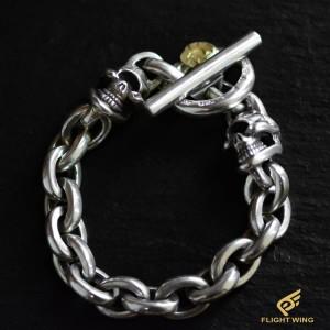 【NEW】2 Skull Link Bracelet and K18 Eagle Metal / Stop Light