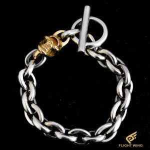 【NEW】K18 Single Skull Link Bracelet / Stop Light