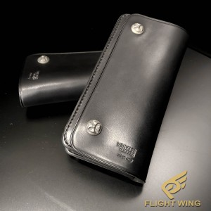 【NEW】Boots Leather Long Wallet Black / Stop Light