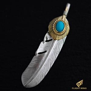 【NEW】K18 Feather Heart K18 Gold Rope Turquoise Extra Large Right / TADY&KING