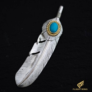 【NEW】SV Feather Heart K18 Gold Rope Turquoise Extra Large Right / TADY&KING